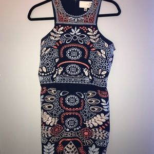 Navy body con with embroidery